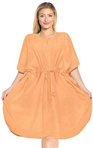 LA LEELA Mujer Kaftan Rayón Túnico Bordado Kimono Estilo Más tamaño Vestido para Loungewear Vacaciones Ropa de Dormir & Cada día Cubrir para Arriba Tops Camisolas Playa Calabaza Naranja_G450