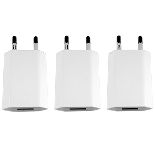 [i!®] 3X USB Netzteil Set Ladegerät Steckdosenadapter Stecker 5V/1A kompatibel mit [Universal | Apple iPhone XS X 8 7 6 5 SE | iPad | Samsung Galaxy | Handy | Tablet | Smartphone] weiß