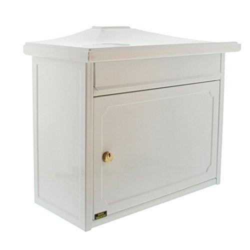 Burg-Wächter Briefkasten mit Komfort-Tiefe, A4 Einwurf-Format, Verzinkter Stahl, EU Norm EN 13724, Kopenhagen 882 W, Weiß
