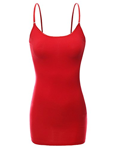 RT1002 Ladies Adjustable Spaghetti Strap Basic Long Cami Tank Top Red S