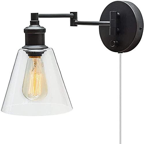 Lámpara de pared, lámpara de pared industrial vintage con interruptor y cable, lámpara de noche de lectura de 6 pies, lámpara de pared con brazo oscilante ajustable, metal negro,