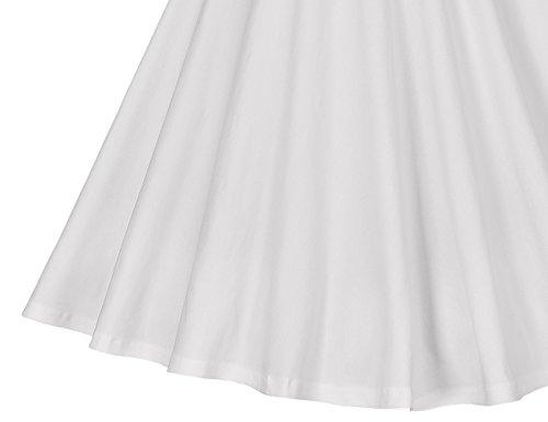 MUXXN Women's 1950s Retro Vintage Cap Sleeve Party Swing Dress(M,White)