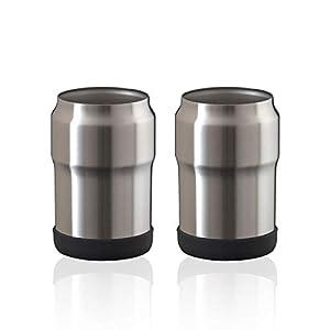 Atlas(アトラス)缶飲料の冷たさキープ ステンレス 保冷缶ホルダー 350ml缶用 シルバー 2個セット AWCH-350SV2P 真空断熱 ペア SET 単品当たり 1100円 バーベキュー アウトドア 家飲み
