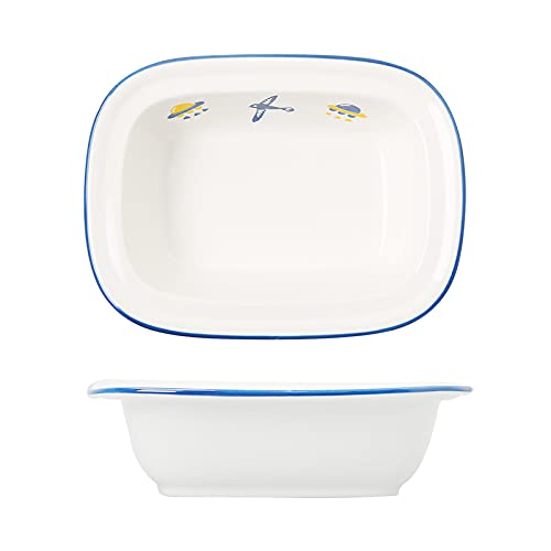 Platos para Hornear rectangulares de cerámica pequeña Sartén para Hornear de cerámica Plato de arroz Pastel de Pizza Floral Queso para Servir Utensilios para Hornear Horno Vajilla para el hogar