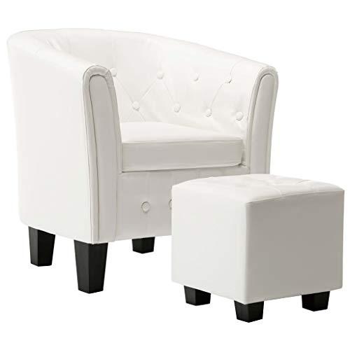 vidaXL Sessel mit Fußhocker Clubsessel Loungesessel Cocktailsessel Relaxsessel Bar Stuhl Sofa Büro Möbel Polstersessel Weiß Kunstleder