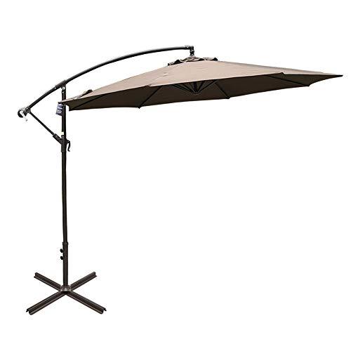 Sundale Outdoor 10FT Offset Umbrella Cantilever Umbrella Hanging Patio Umbrella with Crank and Cross Bar Set, Steel Ribs, Polyester Canopy Shade for Deck, Garden, Backyard, Black