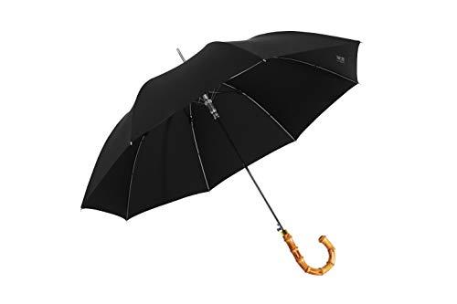 MissRain Premium QUALITÄT Sturmfest groß XXL Herren Regenschirm schwarz Automatik Stockschirm für 2 Personen 110cm Durchmesse und 95cm Länge mit hochwertigen Stoff und Hand Made Bambus Griff