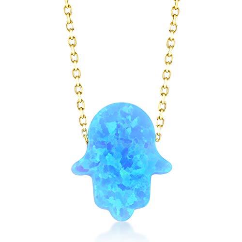 Gelin Collar para mujer de 14 quilates, oro amarillo 585, cadena con colgante de la mano de Fátima, regalo para cumpleaños, cadena de 45 cm