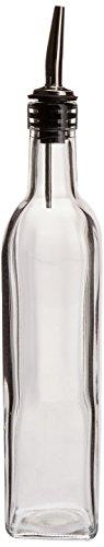 16 Oz. (Ounce) Oil Vinegar Cruet, Square Tall Glass Bottle w/Stainless Steel Pourer Spout