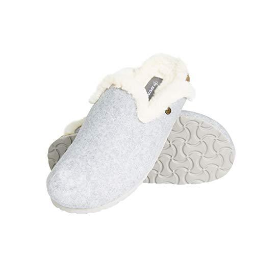 Dunlop Zapatillas Mujer, Zapatillas Casa Mujer con Forro Polar, Pantuflas Mujer Interior Extra Suave, Regalos para Mujer y Chica Adolescente Talla 36-41 (Gris Claro, Numeric_38)