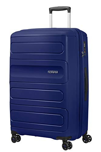American Tourister Sunside - Spinner L Expandable Suitcase, 77 cm, 106/118 Litre, Blue (Dark Navy)