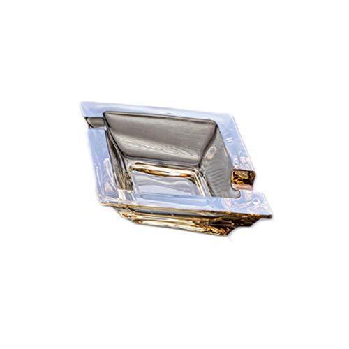 Aschenbecher , Glas, Großer Winddichter Aschenbecher for Zigaretten Aschenbecher for Den Außenbereich Schöne Tischplatte Rauch Aschenbecher, 12,5 * 4 cm (Color : Yellow)