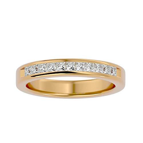 Anillo de oro de 14 quilates con diamante natural de corte princesa (0,55 quilates) con anillo de boda de oro blanco/amarillo/rosa para mujer