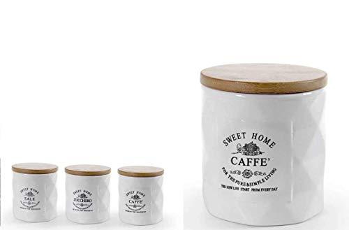 GICOS IMPORT EXPORT SRL Juego de 3 recipientes de cerámica con tapa de madera, color blanco, 10 x 12 cm, DTC-783555