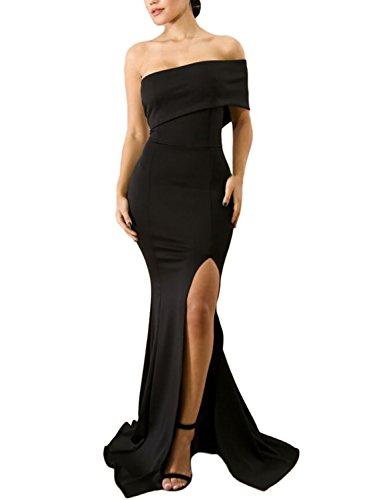 ZKESS Women's Fashion Off Shoulder Side Split Maxi Evening Party Dress Black S