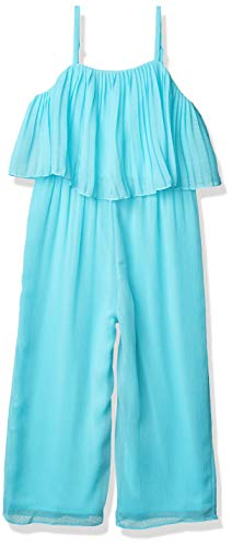 Amy Byer Girls' Pleated Popover Jumpsuit, Turquoise, 12