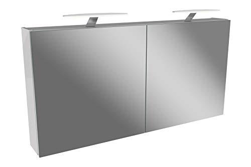 FACKELMANN LED Spiegelschrank 120 cm Tamia/Badschrank mit 3D Effekt/Maße (B x H x T): ca. 120 x 62 x 13,6 cm/Schrank mit Spiegel & LED-Beleuchtung für das Badezimmer / 2 Türen/Korpus: Weiß
