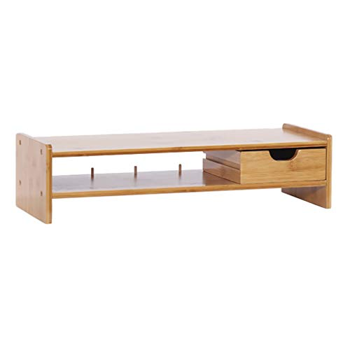 Monitor Stand Computer Riser, Met Desktop Storage Organizer Laptop Plank Risers, Bamboe Hout Stijlvolle En Goed Made Space Saver 1 drawer