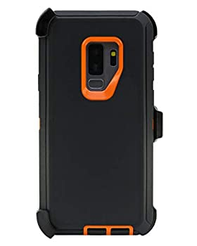 """WallSkiN Turtle Series Belt Clip Cases for Galaxy S9 Plus / S9+  6.2""""  3-Layer Full Body Life-Time Protective Cover & Holster & Kickstand & Shock Drop Dust Proof - Black/Orange"""