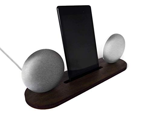 Wood Google Home Mini stand for stereo pairing with smartphone and tablet stand in many colors as dark walnut Office desk accessories for Nest 2nd gen Vertical table mount smart speaker holder