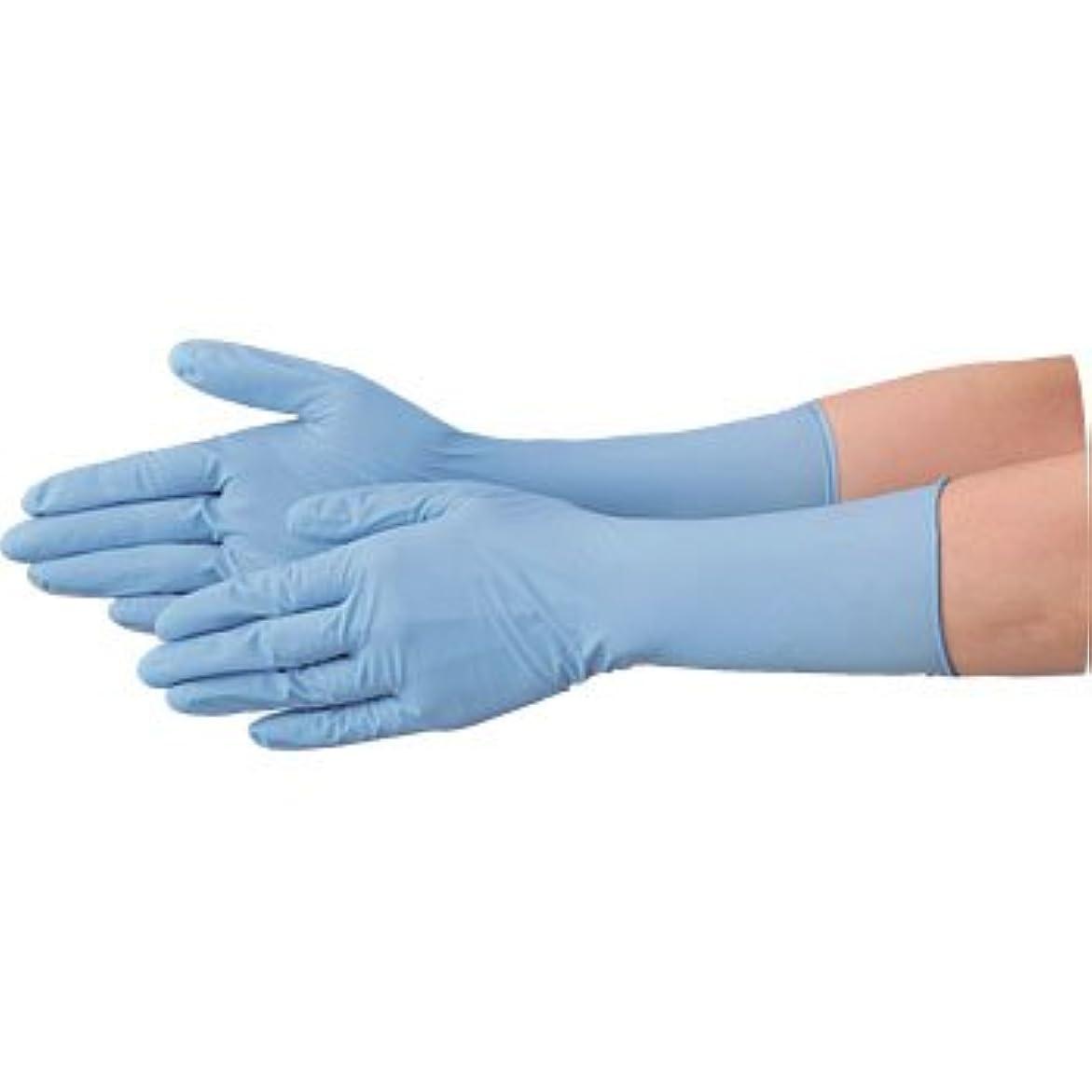 示す食い違い失う使い捨て 手袋 エブノ 528 ニトリル ロング手袋 パウダーフリー 全長29cm ブルー Lサイズ 2ケース(100枚×40箱)