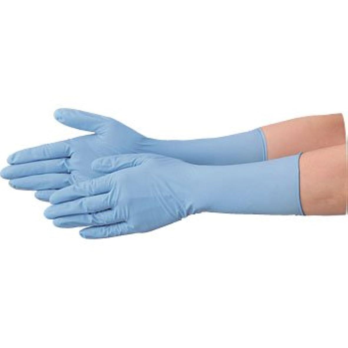 静めるメーターここに使い捨て 手袋 エブノ 528 ニトリル ロング手袋 パウダーフリー 全長29cm ブルー Lサイズ 2ケース(100枚×40箱)