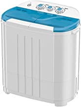 Auertech Portable Washing Machine, 14lbs Mini Twin Tub Washer Compact Laundry Machine Dryer with Built-in Gravity Drain Time Control, 9lbs Washer 5lbs Spinner for Dorms, Apartments, RVs