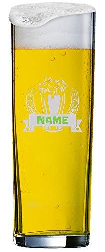 MeinGlas GmbH Individuell graviertes Kölschglas 0,2 l mit Einer Namensgravur innerhalb des Wappens – Individuell gefertigt, edel und spülmaschinenfest