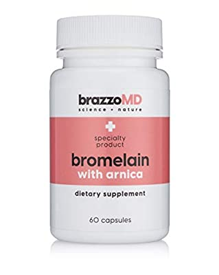 brazzoMD Bromelain with Arnica Tablets, 60 tablets, Plastic Surgeon developed to reduce bruising, inflammation, and pain, and to assist in natural healing