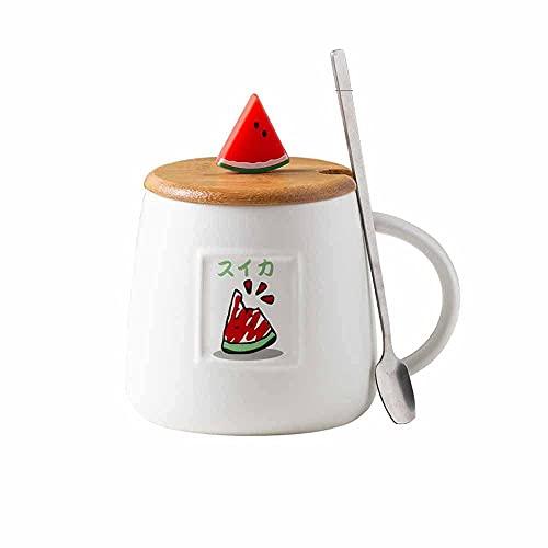 CGDX Taza de café Porcelain425ml Linda taza de café de cerámica de fresa con tapa y cuchara Novedad Frutas divertidas Taza de viaje de oficina para llevar para té/leche/agua (variedad de estilos