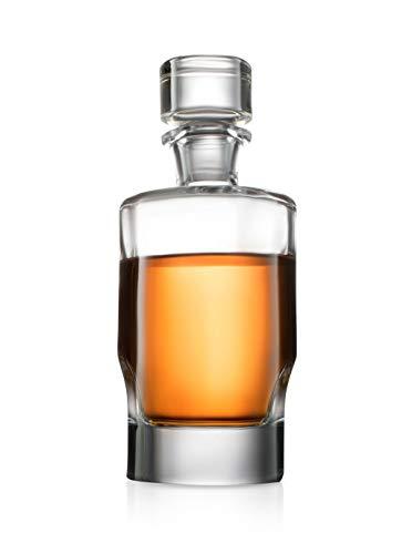 Carina Whisky-Dekanter – 25oz Crystal Modern Dekanter – Bleifreier kleiner Likör-Dekanter mit Stopper – Schnaps-Karaffe für Whiskey, Bourbon, Brandy, Likör und Rum – Scotch Bar Container
