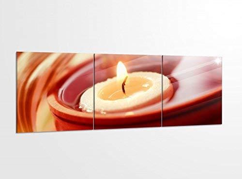 Acrylglasbilder 3 Teilig 150x50cm Wellness Kerze Blume Spa Lilie Acrylbild Bilder Acrylglas Wand Bild Kunstdruck 14?5744, Acrylglas Größe 6:BxH Gesamt 150cmx50cm