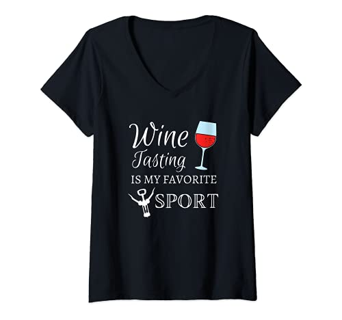 Womens Wine Tasting Is My Favorite Sport Funny Alcohol Vino V-Neck T-Shirt