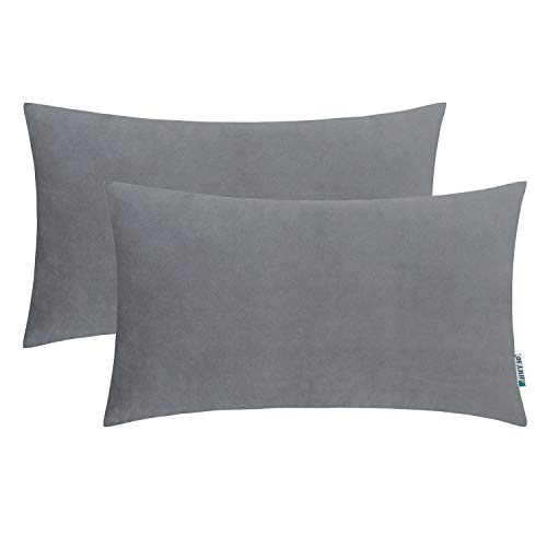 HWY 50 Decorative Throw Pillows Covers Soft Comfortable Velvet Solid Grey Gray Rectangular Pillows Covers Set Cushion Cases for Couch Sofa Living Room 12 x 20 inch Pack of 2, Home Decor