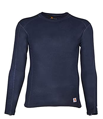 Carhartt Men's Force Midweight Classic Thermal Base Layer Long Sleeve Shirt, Navy, 2X-Large