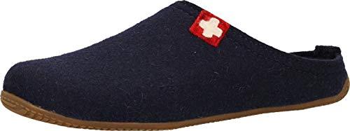 Living Kitzbühel Unisex Pantoffel Rewooly Schweizer Kreuz mit Fußbett Hausschuh, Nachtblau, 38 EU