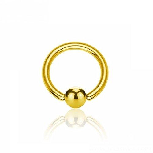 eeddoo Piercing-Ring BCR Klemmring Gold Edelstahl Stärke: 1,6 mm Durchmesser: 6 mm 3 mm