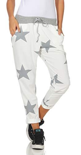 Mississhop 287 Damen Hose Cargohose Blumen Sweatpants Jogginghose Baumwolle Freizeithose Boyfriend Model 1 (weiße Grau Sterne)