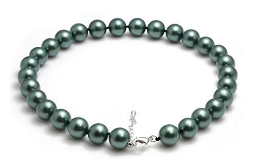 Schmuckwilly Muschelkernperlen Perlenkette Perlen Collier - Muschelkernperlenkette Halskette blau Hochwertige aus echter Muschel 45cm 14mm mk14mm048-45