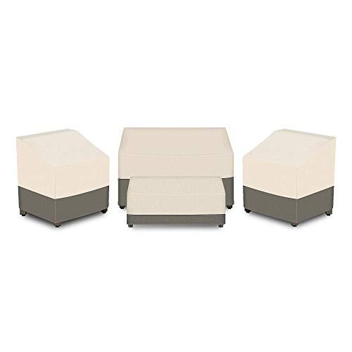 Wisteria Lane Patio Furniture Cover, 4 Piece Waterproof and Heavy Duty Outdoor Veranda Lawn Furniture Deep Seat Covers, Beige & Brown
