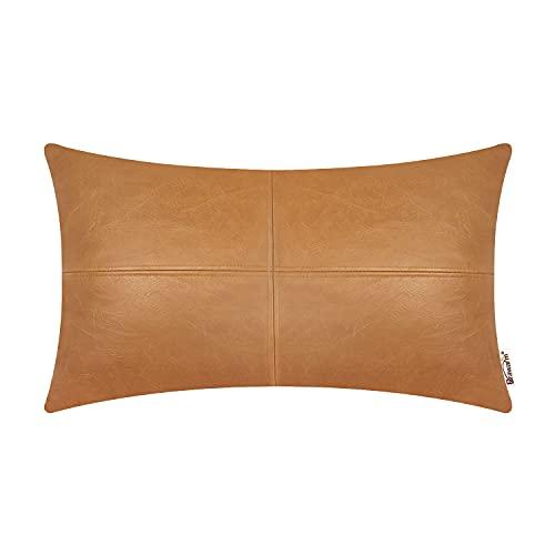 BRAWARM - Funda de almohada para sofá o sofá, decoración del hogar, color sólido, de piel sintética de lujo, 30 x 50 cm, color marrón