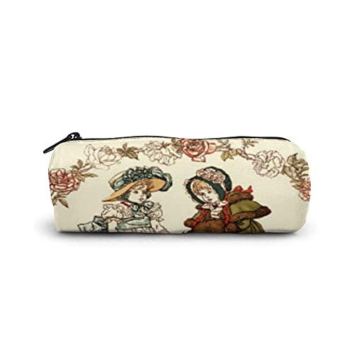 Estuche para lápices, bolsa de cosméticos cilíndrica, bolsa de papelería multifuncional con cremallera para suministros escolares y de oficina, estilo victoriano Kate Greenaway Art