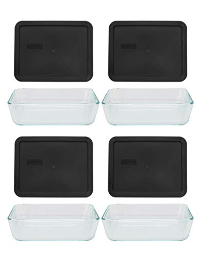 Pyrex (4) 7211 6 Cup Glass Dishes & (4) 7211 6 Cup Rectangle Black Lids
