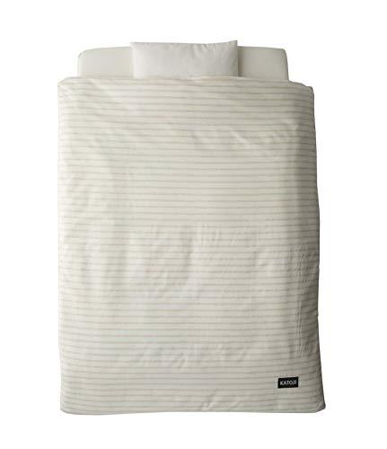 【セット買い】カトージミニベッド折り畳みホワイト+カトージオーガニックミニ布団ボーダー