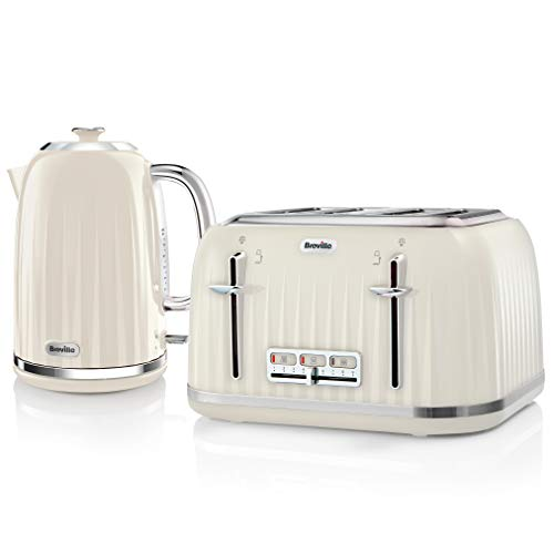 Breville Impressions Kettle & Toaster Set with 4 Slice Toaster & Electric Kettle (3 KW Fast Boil), Cream