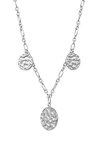 Pernille Corydon Kette Damen Silber 925 mit 3 Plättchen - Halskette New Moon Necklace runde Anhänger Gehämmert - 41-48 cm - N415s