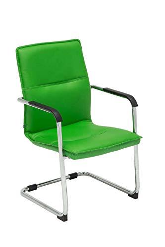 CLP Freischwinger Seattle mit Armlehne I Konferenzstuhl mit hochwertiger Polsterung und Kunstlederbezug, Farbe:grün
