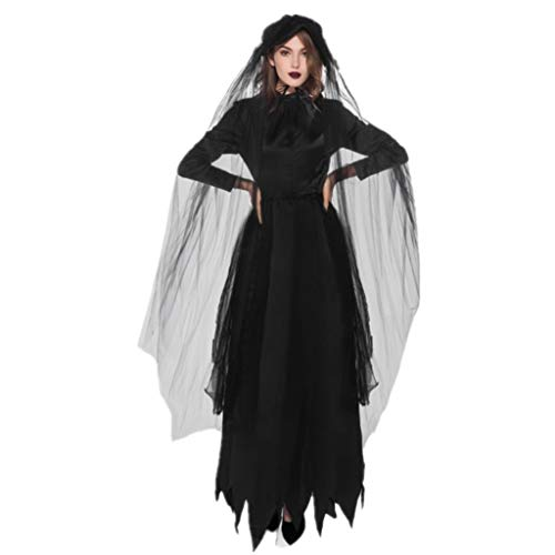 NWFS Halloween Geest Zombie Bruid Kostuum Sexy Zwarte Jurk Headdress sluier Demon Heks Schedel Jurk Cosplay Party Jumpsuit Fancy Kostuum