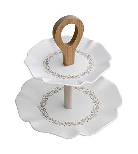 Brandani Riccioli di Fata levatina diam.20 h.21 en Porcelaine et Bambou Naturel, Blanc Art. 53343
