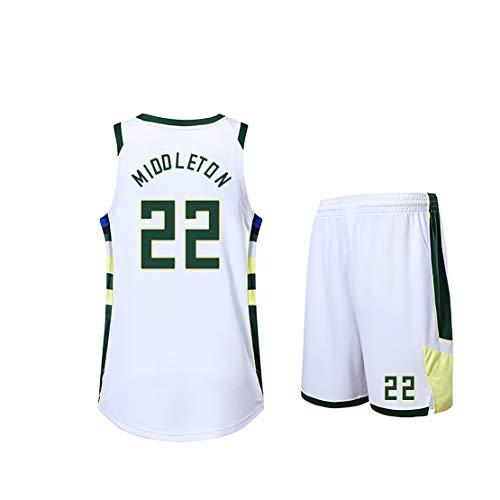 Kinder Männer Basketball Uniform, Bucks Giannis Antetokounmpo Nr. 34 Familienanzug, Hemd + kurzes Fan Fan Trikot-White22-3XS